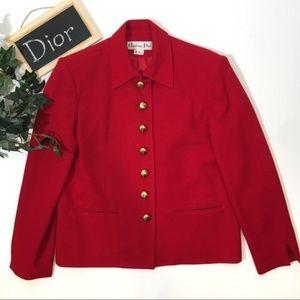 Vintage Christian Dior Blazer Jacket 8 Red Gold
